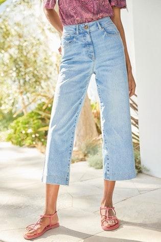 Mid Blue Ankle Length Wide Leg Jeans