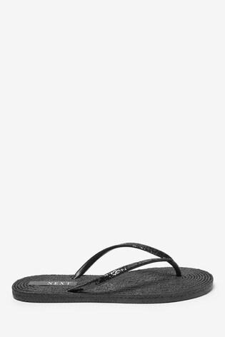 Black Texture Flip Flops
