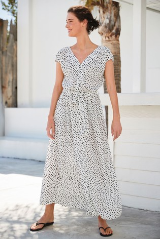 Mono Spot Short Sleeve Maxi Dress