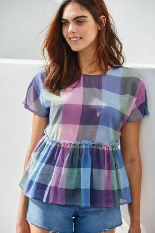 Blue/ Purple Check Peplum Top