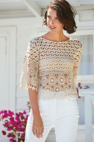 Ecru Crochet Boat Neck Top