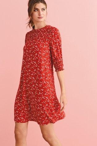 Red Ditsy Smocked Dress