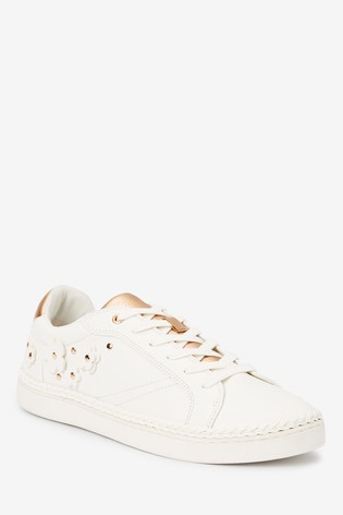 White Forever Comfort® 3D Floral Trainers