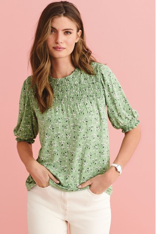 Green Ditsy Puff Sleeve Smock Top