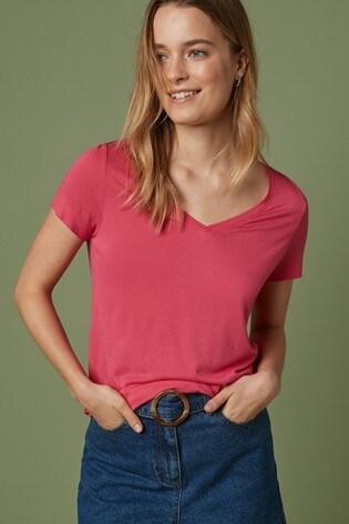 Fuchsia Pink Slouch V-Neck T-Shirt