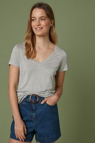 Grey Marl Slouch V-Neck T-Shirt