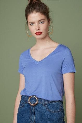 Pale Blue Slouch V-Neck T-Shirt