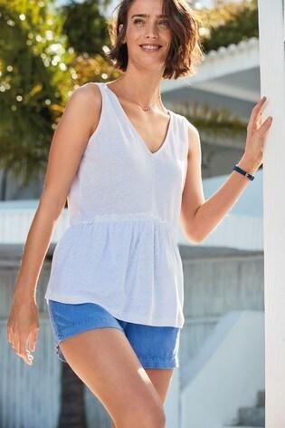 Cobalt Linen Blend Pull-On Shorts