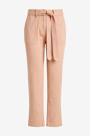 Coral Cropped Utility Tapered Jeans