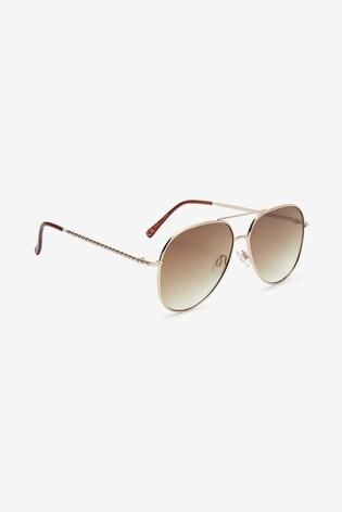 Gold Tone Twist Arm Aviator Style Sunglasses