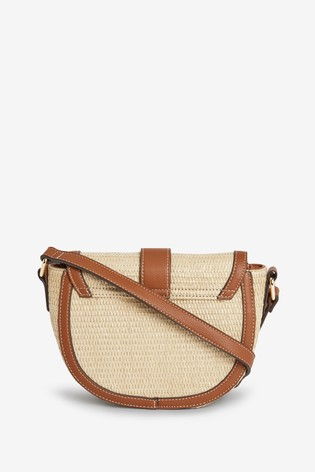 Natural Raffia Saddle Across-Body Bag With Buckle Detail