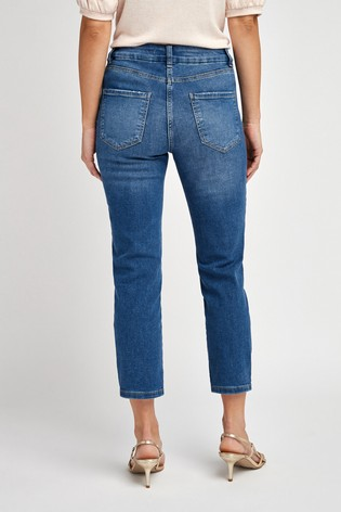 Mid Blue Cropped Straight Jeans