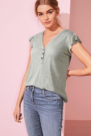 Khaki Ruffle V-Neck T-Shirt