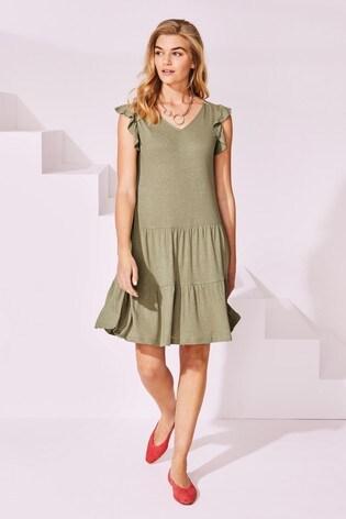 Khaki V-Neck Frill Sleeve Dress