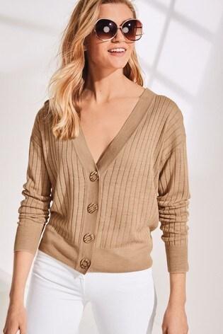 Stone Linen Blend Button Front Cardigan