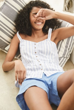 Blue Stripe Linen Blend Cami Top