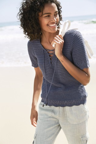 Blue Lace-Up Crochet T-Shirt