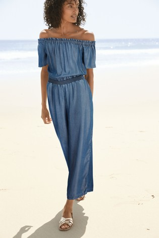 Blue Off The Shoulder TENCEL™ Jumpsuit