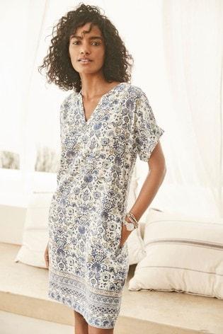 Blue Print Linen Blend Kaftan Dress