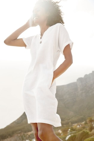 White Linen Blend Kaftan Dress