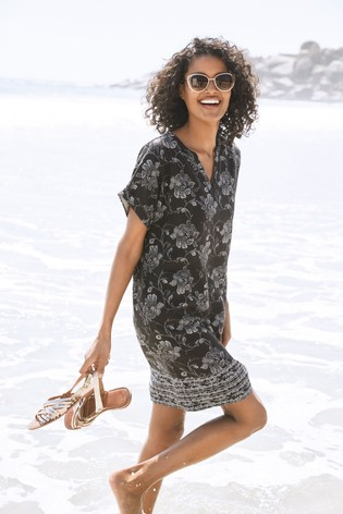 Black Floral Linen Blend Kaftan Dress