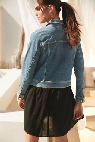 Dark Blue Distressed Authentic Denim Jacket