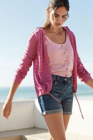 Pink Tie Sleeve Stripe Vest