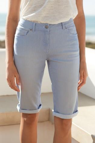 Light Blue Stripe Knee Shorts