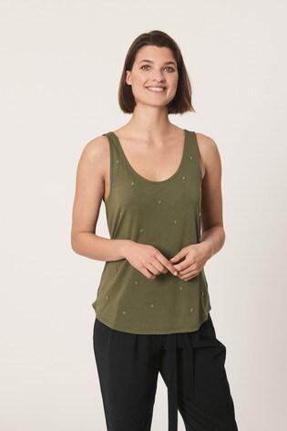 Khaki Embellished Vest