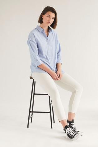 Grey Stripe Jersey Cropped Leggings