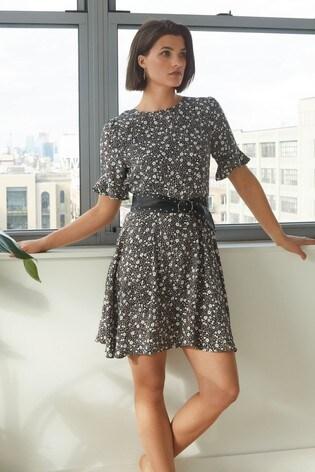 Monochrome Animal Print Frill Sleeve Tea Dress