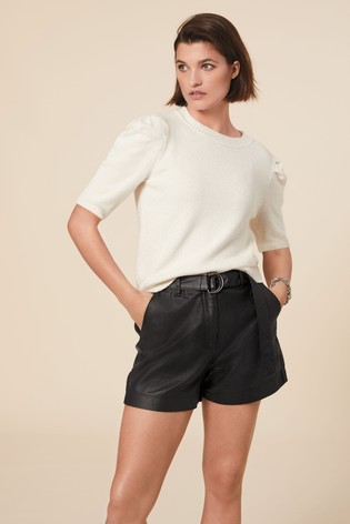 Black Belted Coated Denim Shorts