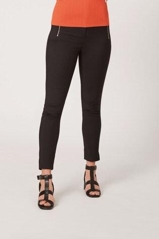 Black Skinny Zip Trousers