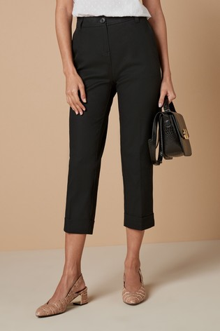Black Cotton Twill Taper Trousers