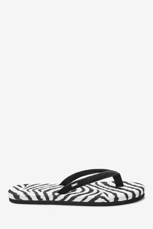 Zebra Print Toe Thong Slippers