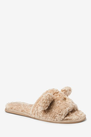 Neutral 'Bonnie' Bear Character Slider Slippers