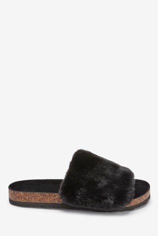 Black Cork Faux Fur Sliders