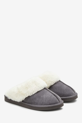 Grey Suede Mule Slippers