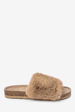 Camel Cork Faux Fur Slider Slippers