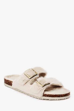 Grey Two Band Faux Fur Slider Slippers