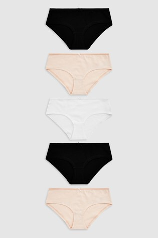 Black/White/Nude Short Cotton Knickers Five Pack