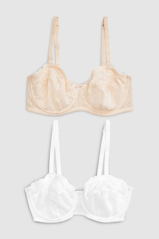 Nude/White Lizzie DD+ Non Padded Multiway Bras Two Pack
