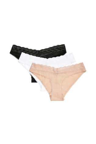 Black/White/Nude Lace Trim Cotton Rich Extra High Leg Knickers Three Pack