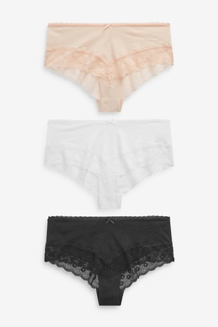 Black/White/Nude Cotton Rich Lace Hipsters Three Pack