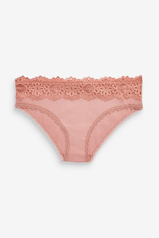 Pink/Black Short Ribbed Modal And Cotton Knickers Three Pack