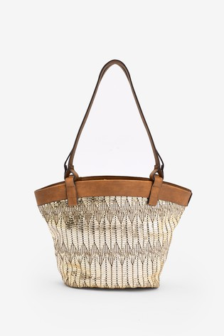 Metallic Weave Detail Shopper Bag