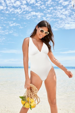 White Ribbed Plunge Shape Enhancing Swimsuit
