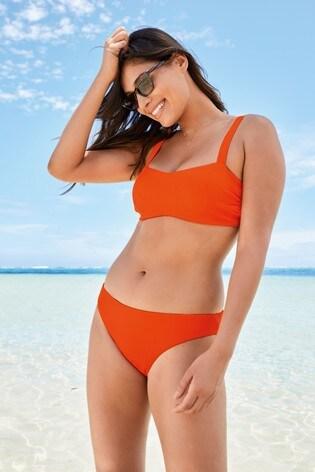 Orange Ribbed Square Neck Crop Bikini Top