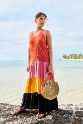 Colourblock Tiered Maxi Dress