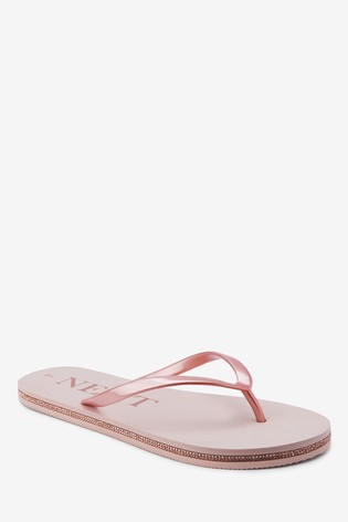 Rose Gold Diamanté Detailed Flip Flops